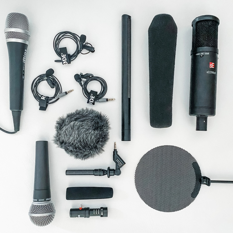 selection of microphones including Rode, SE, Sennheiser, Shure, Audio Technica