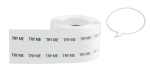 Roll of tester stickers with the text 'try me'